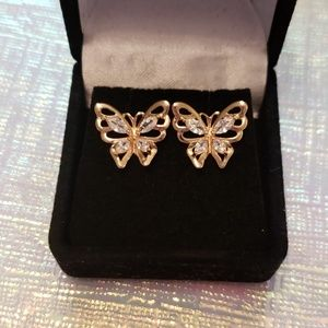 Jewelry - Nwt Gold Crystal Butterfly Earrings